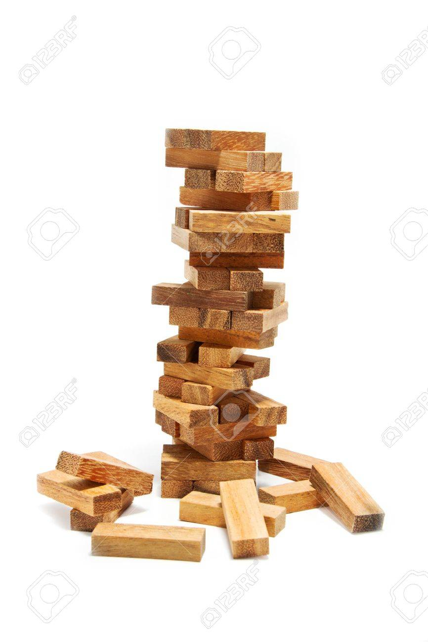 instability building blocks at risk concept on white background