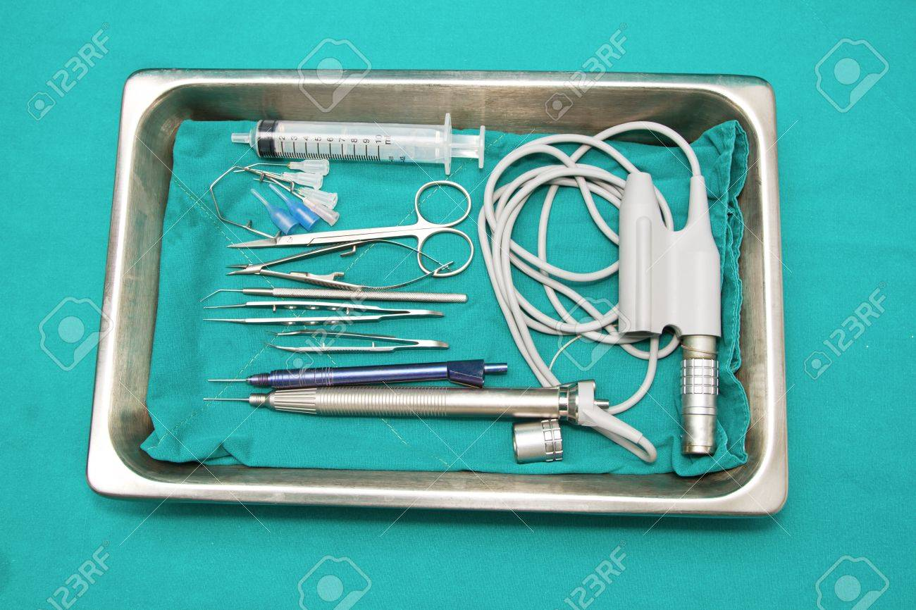Eye surgery set ,set of surgical instrument on sterile tray Stock Photo - 17288856