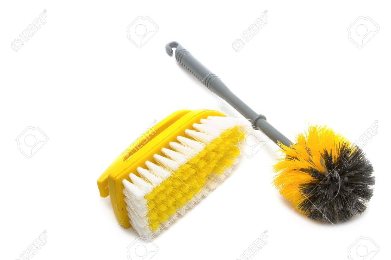 Clean tool,Plastic toilet brush isolated on white background Stock Photo - 17473438