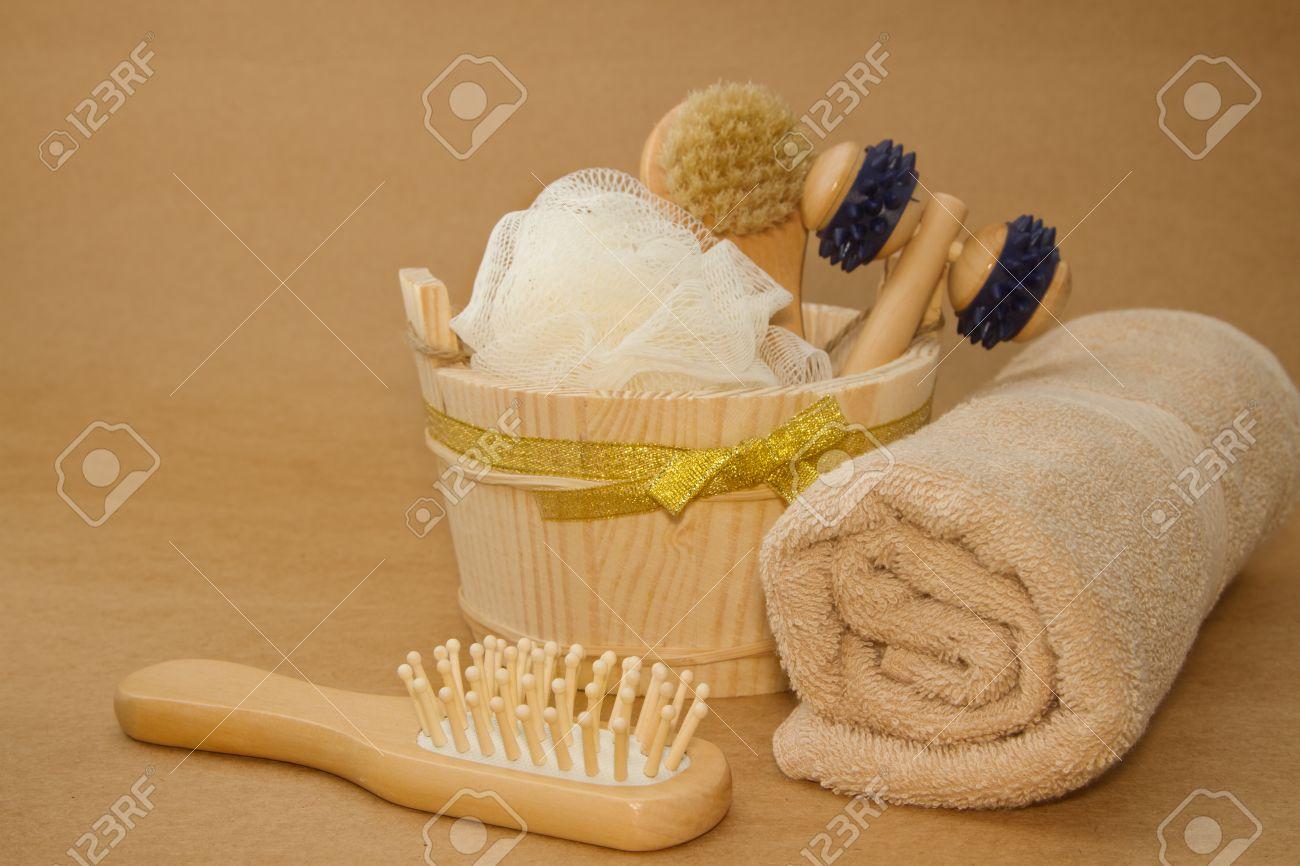 Seau en bois avec spa et sauna accessoires, kit de nettoyage de ...