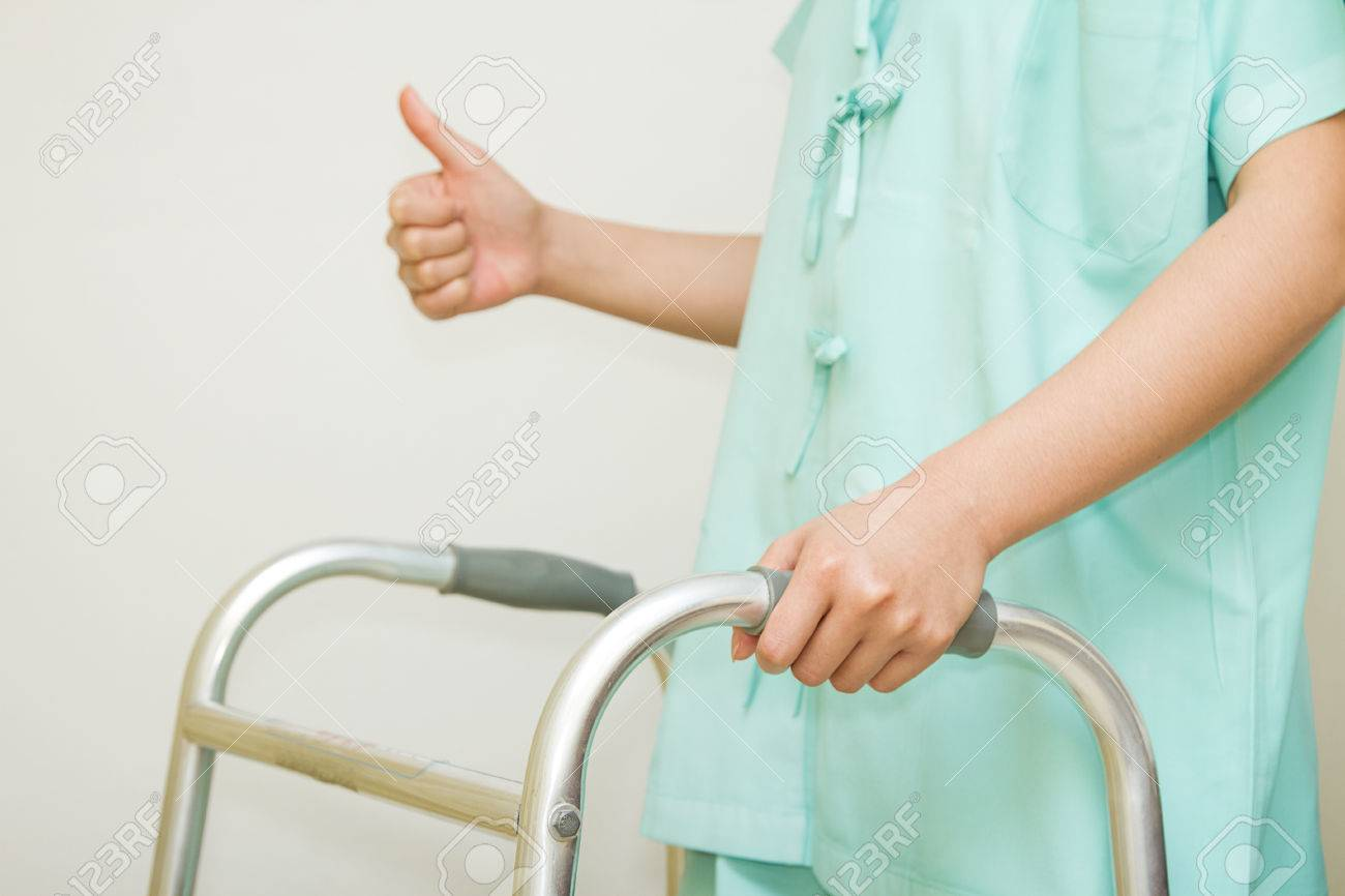 Patient Woman Rehab To Walk With Walking Frame Stock Photo, Picture ...