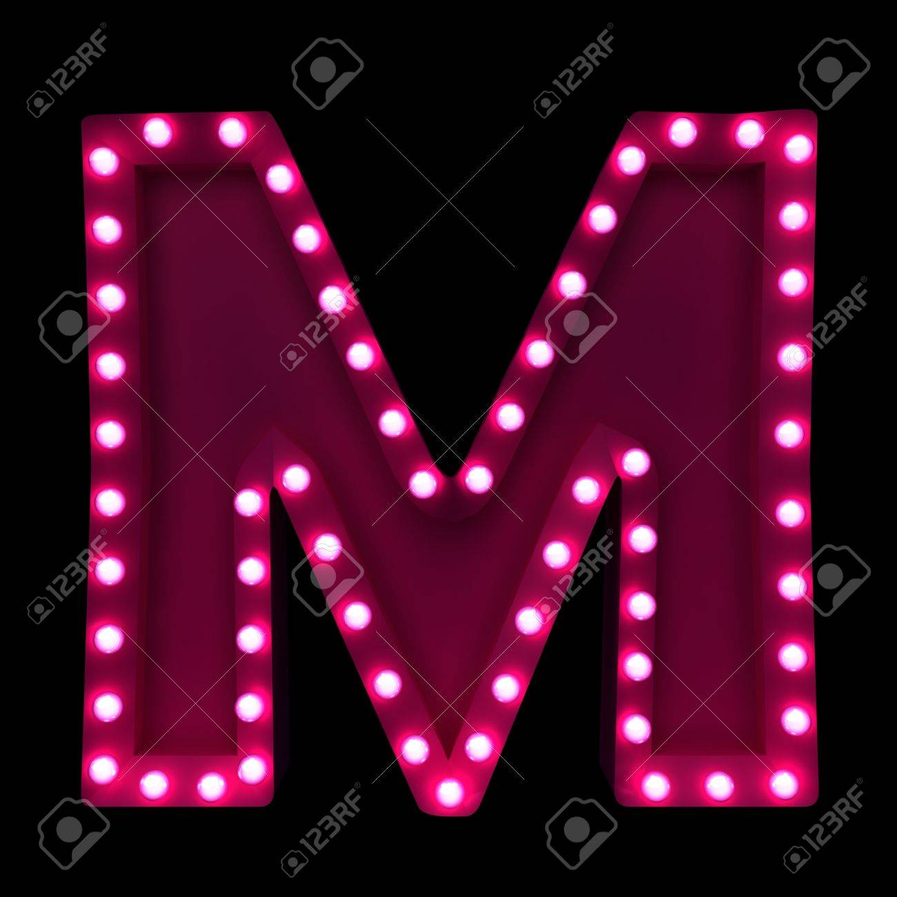 letters with neon lights isolated on black background Stock Photo - 16292682