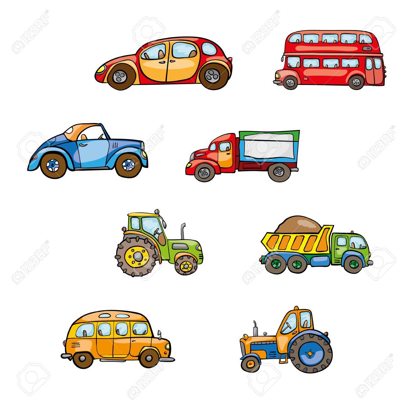 De Transporte De Juguete Dibujados A Mano Los Niños Linda Divertida Bebé Tractor Brillante De Dibujos Animados Autobuses Camiones Coches Ruedas Chuscos Ruta Coche Divertido Bip Bip Del Vector En El Fondo