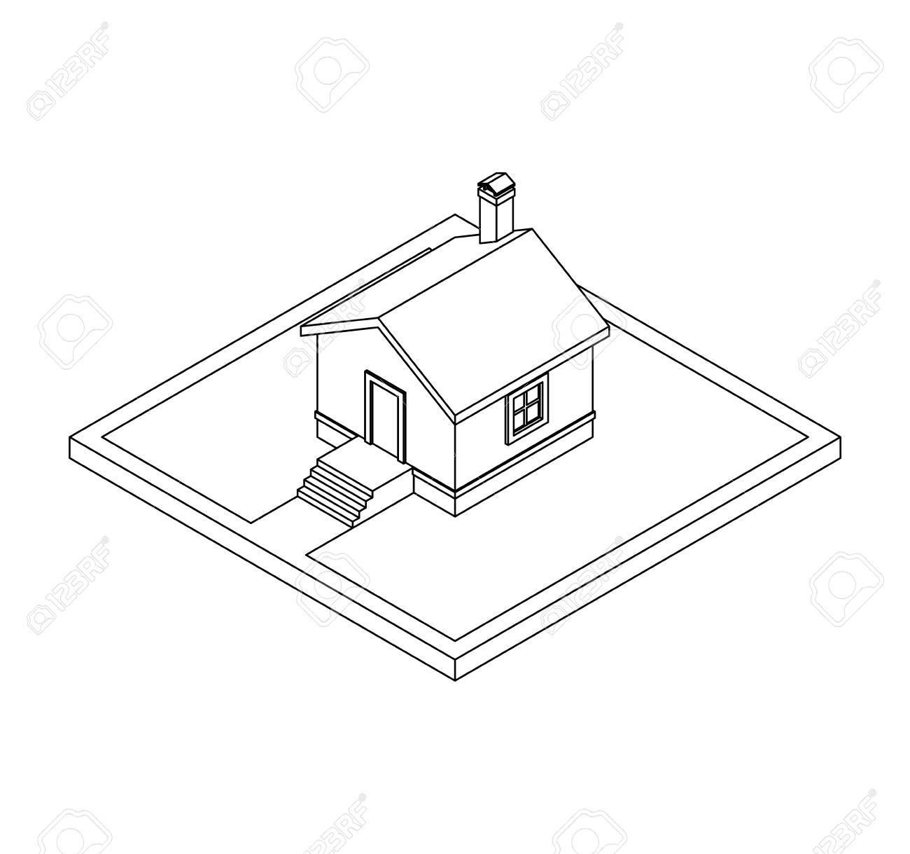 Dibujo 3d De La Casa Privada Ilustración Vectorial Para Colorear Libro Ilustraciones Vectoriales Clip Art Vectorizado Libre De Derechos Image 69672759