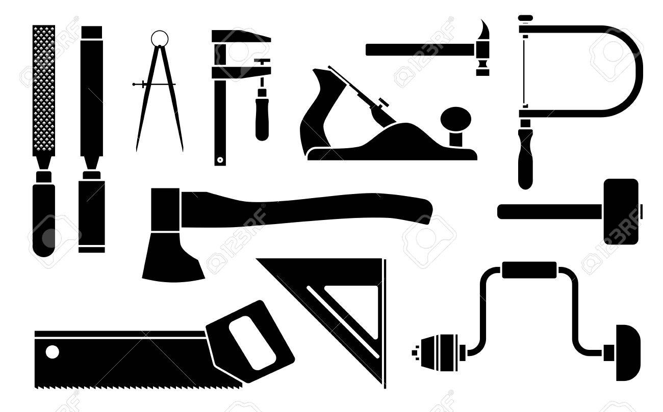 Carpentry Icons Woodwork Tool Set Vector Illustration Isolated