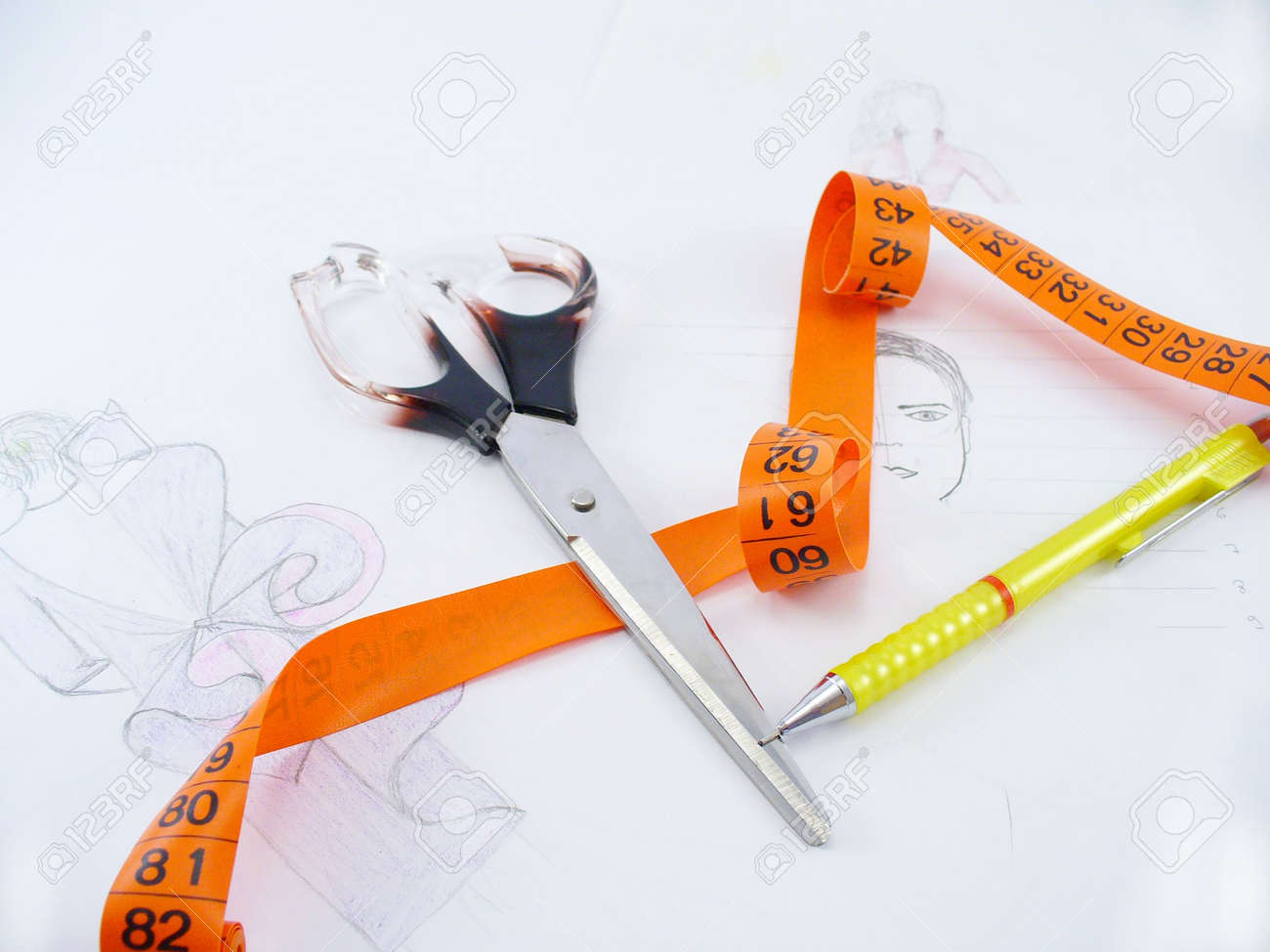 Stock Photo - work table of a fashion designer