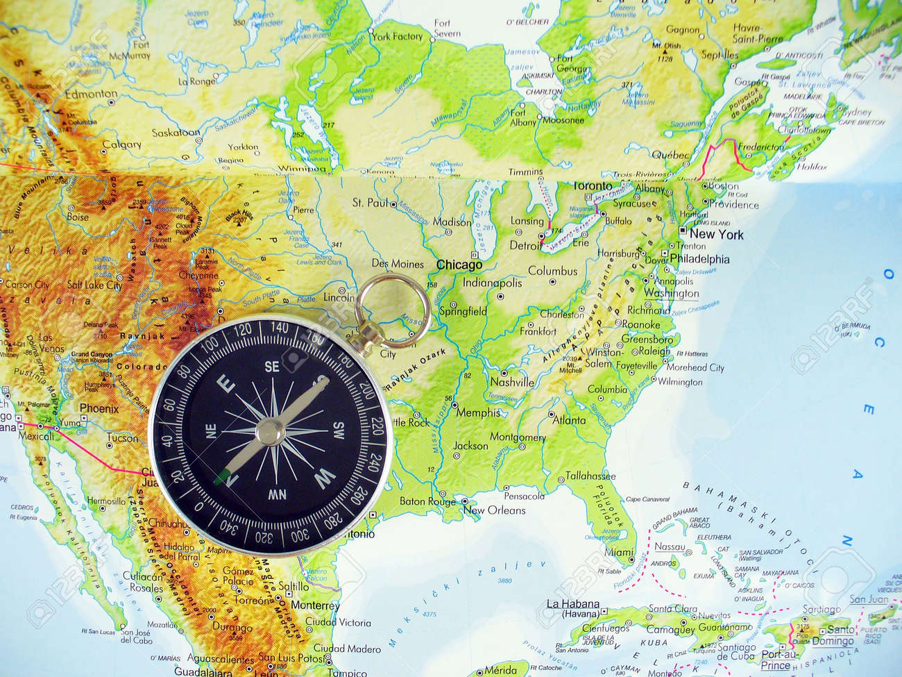 Map Of Usa With Compass | Aahealthcare