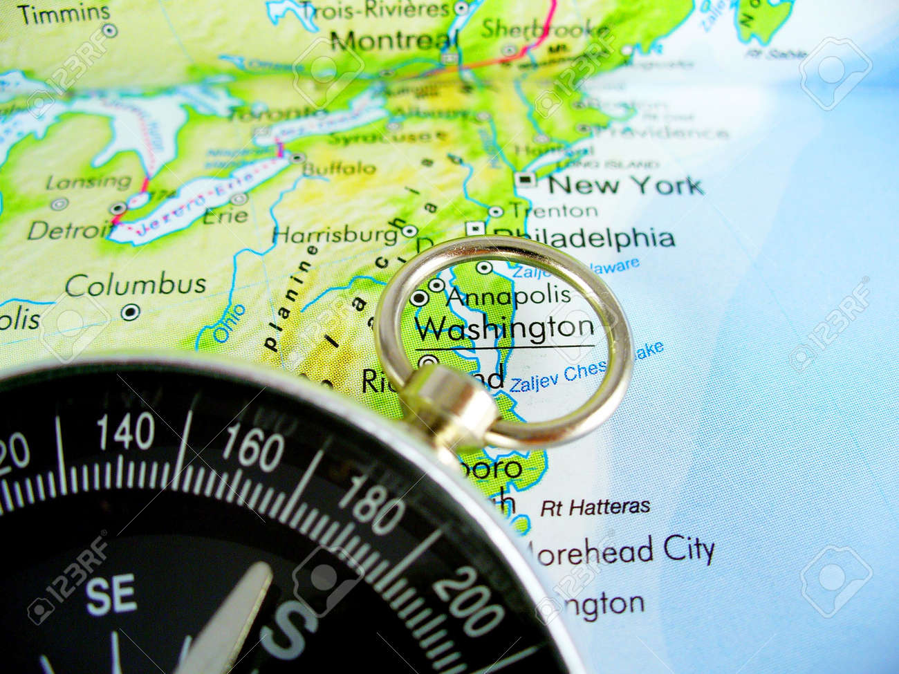 Picture of: Compass On Map Of Usa Stock Photo Picture And Royalty Free Image Image 1216969