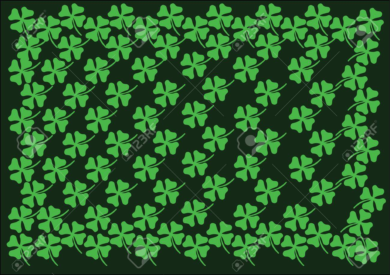 st.patrick background green cloverleaf Stock Vector - 17297616