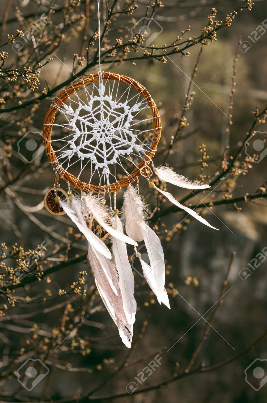 Handmade Pink Native American Dream Catcher On Background Of Stock