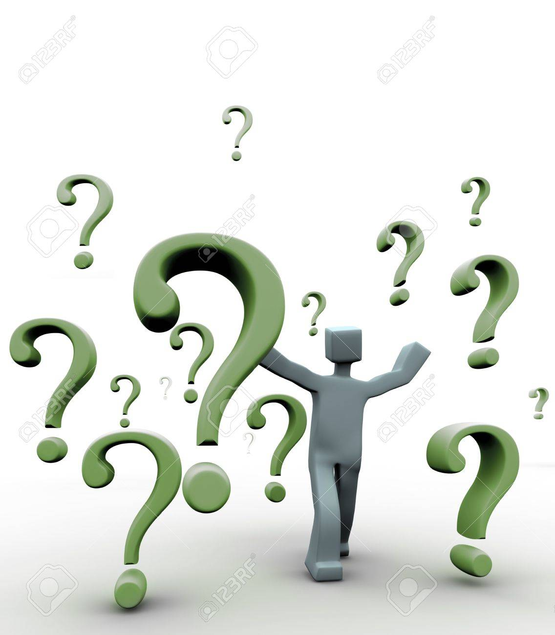 Questions mark symbol falling around a 3d character Stock Photo - 3870426