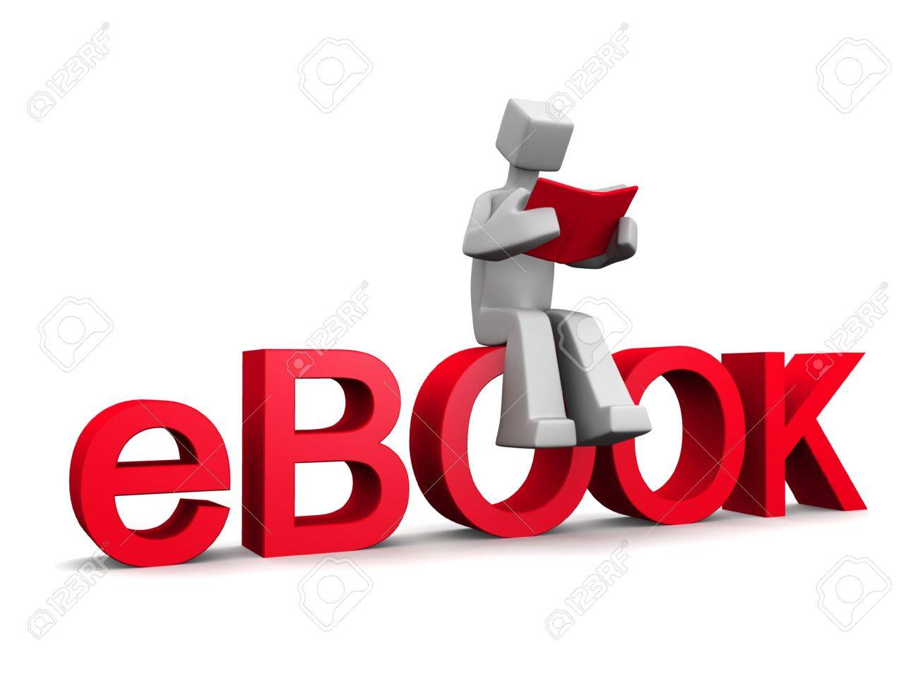 3d man sitting on ebook word reading a red book isolated illustration Stock Photo - 5024058