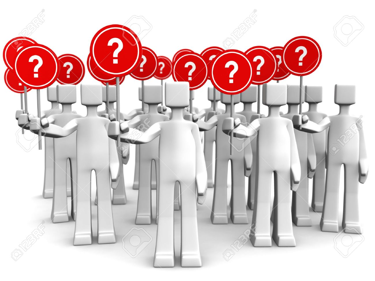 Group of people holding sign with question mark 3d illustration Stock Photo - 5379305