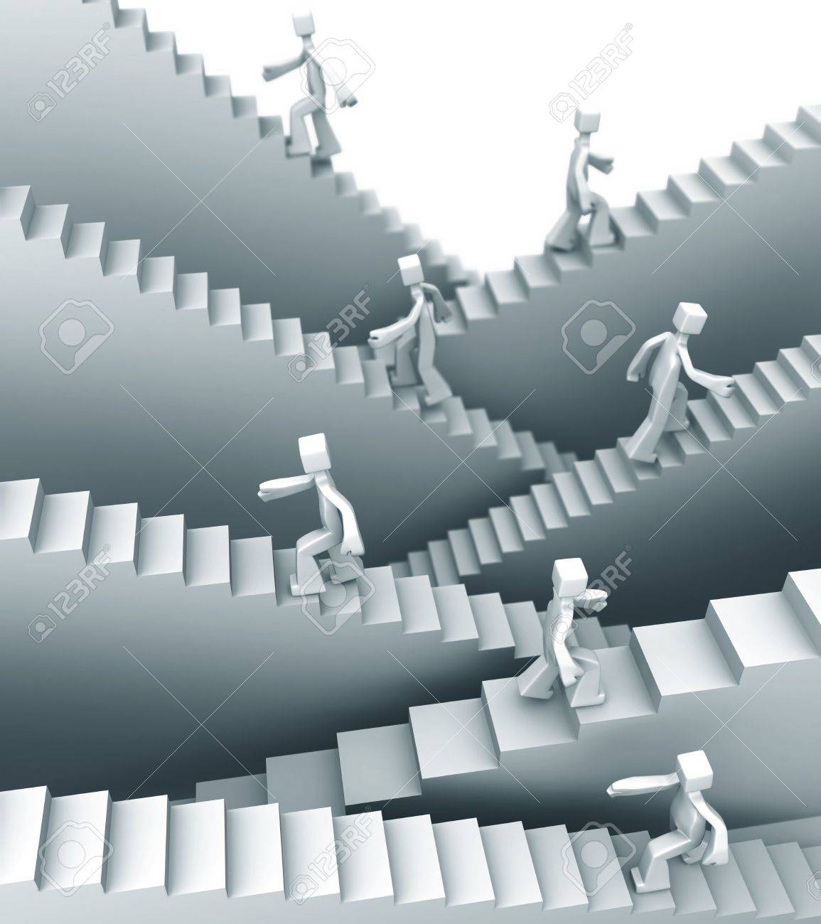 People stepping on staircase moving up direction 3d illustration Stock Photo - 5488542
