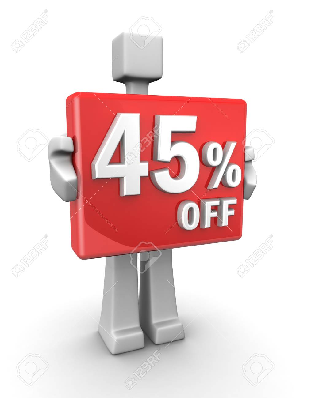 Sales concept a man showing 45 percent off signboard 3d illustration Stock Photo - 5543654