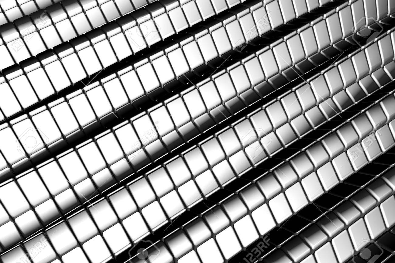 Abstract shiny tiles silver aluminum background with reflection 3d illustration Stock Illustration - 5632778