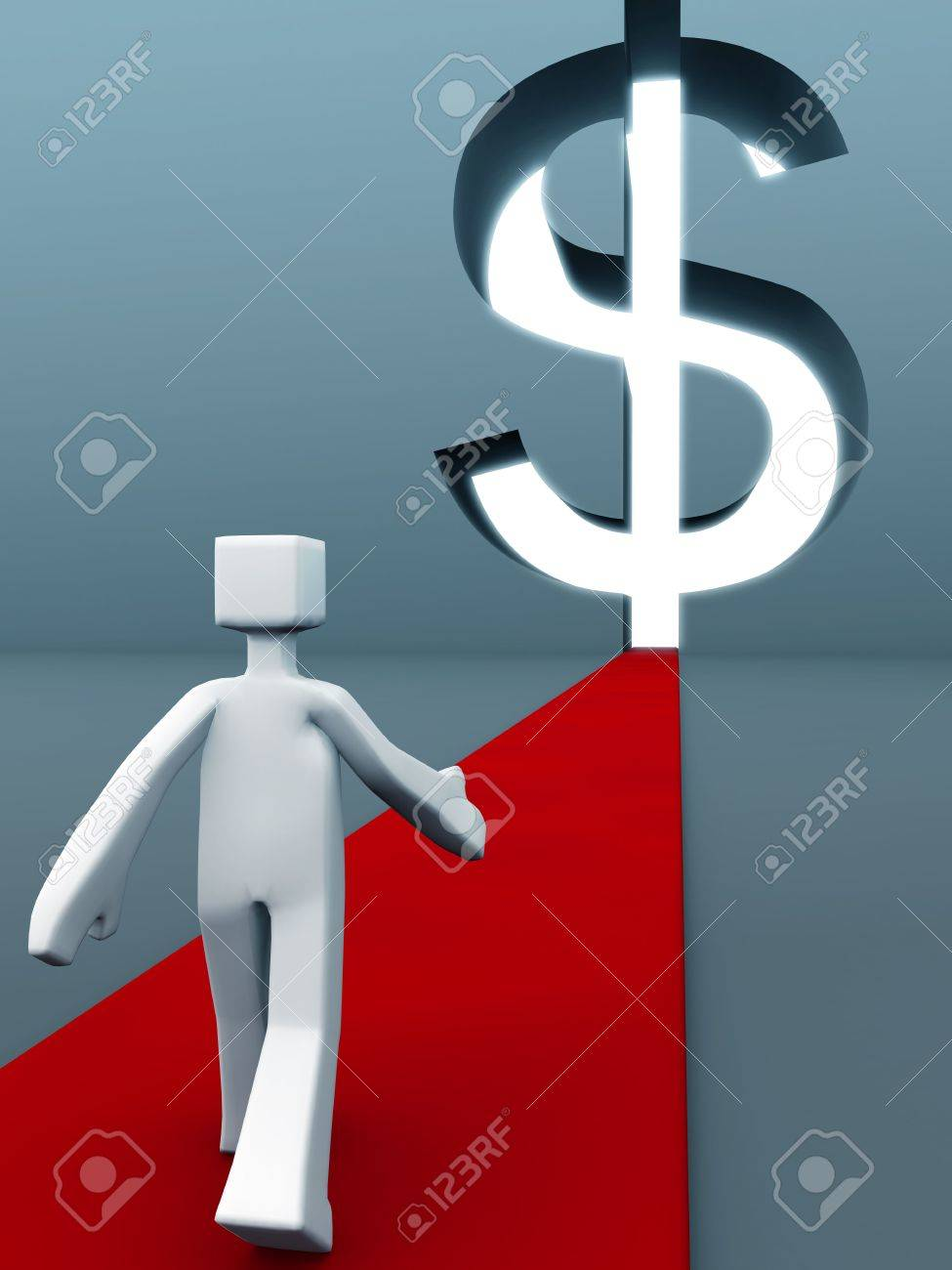 Man walking on red carpet towards the dollar sign door success of wealth concept 3d illustration Stock Illustration - 5741724