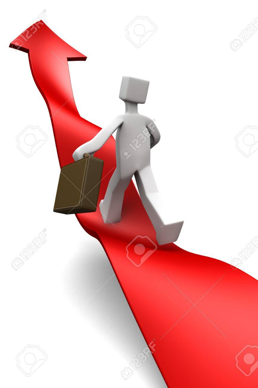 Businessman towards arrow pointing up direction overcome of economy recession concept 3d illustration Stock Illustration - 5809536