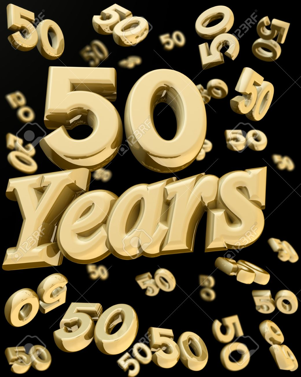 50 Years Anniversary Word With Bunch Of Number 50 Falling At ...
