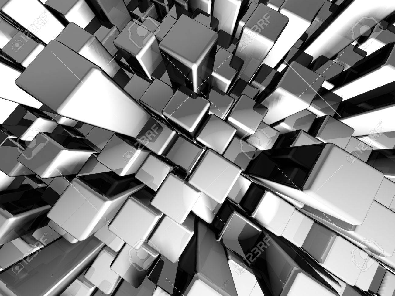 Abstract dynamic metal block background with reflection 3d illustration Stock Illustration - 7163648