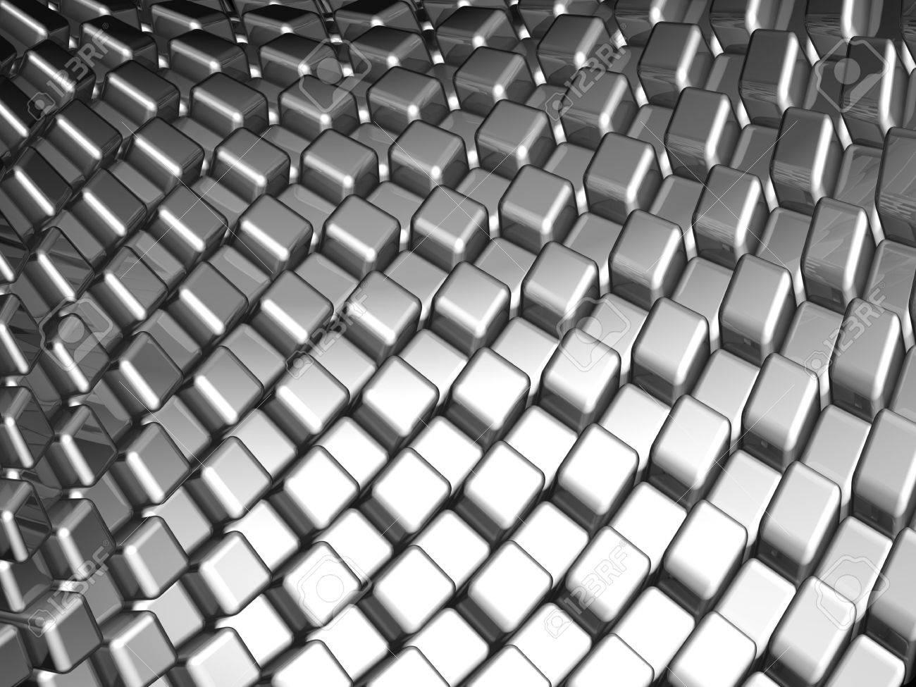 Abstract aluminum dynamic cube background pattern 3d illustration Stock Illustration - 7229872