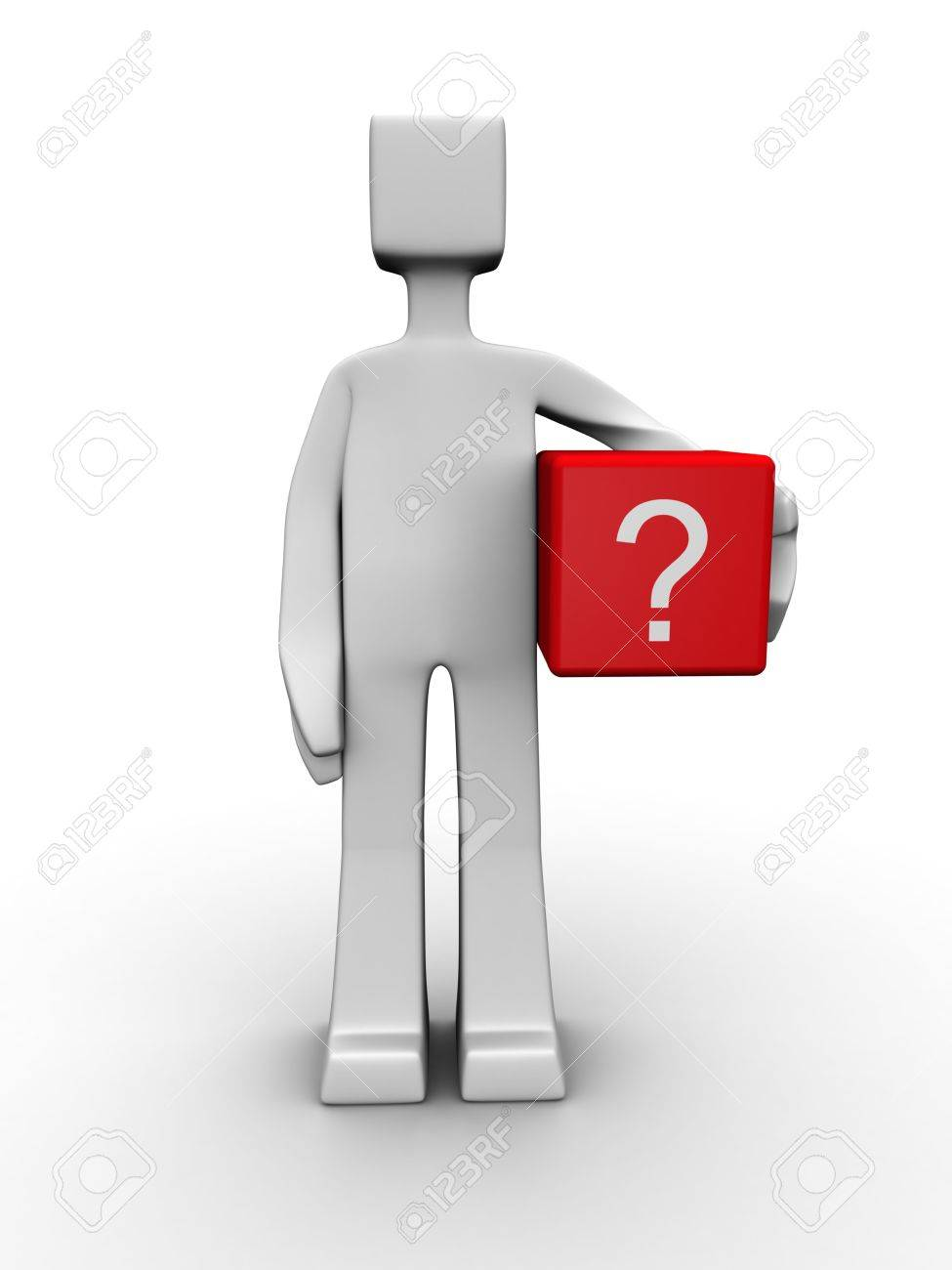 Man carrying a question mark cube box 3d illustration Stock Photo - 7303237