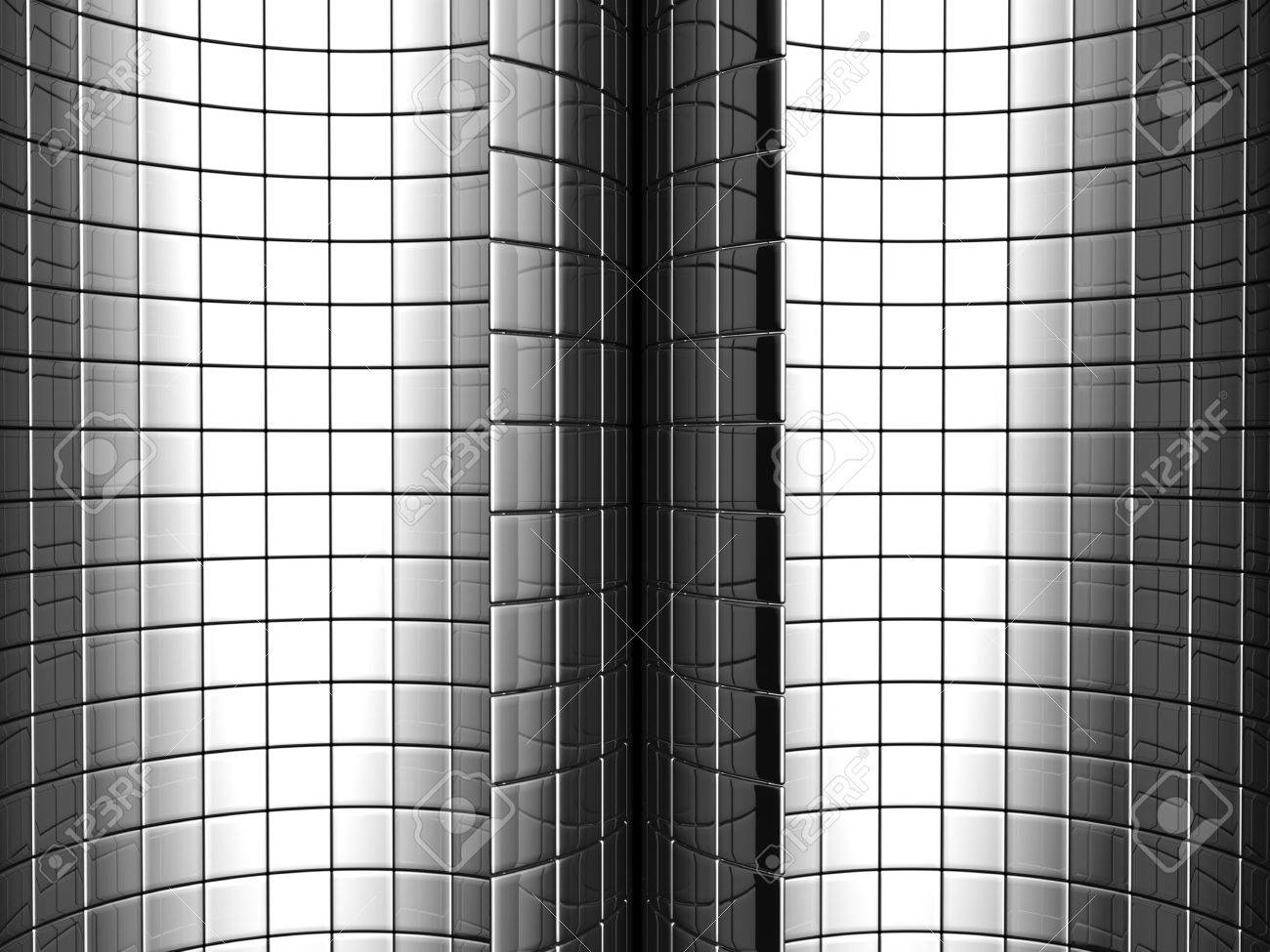 Abstract aluminum curve square pattern background 3d illustration Stock Illustration - 7404605