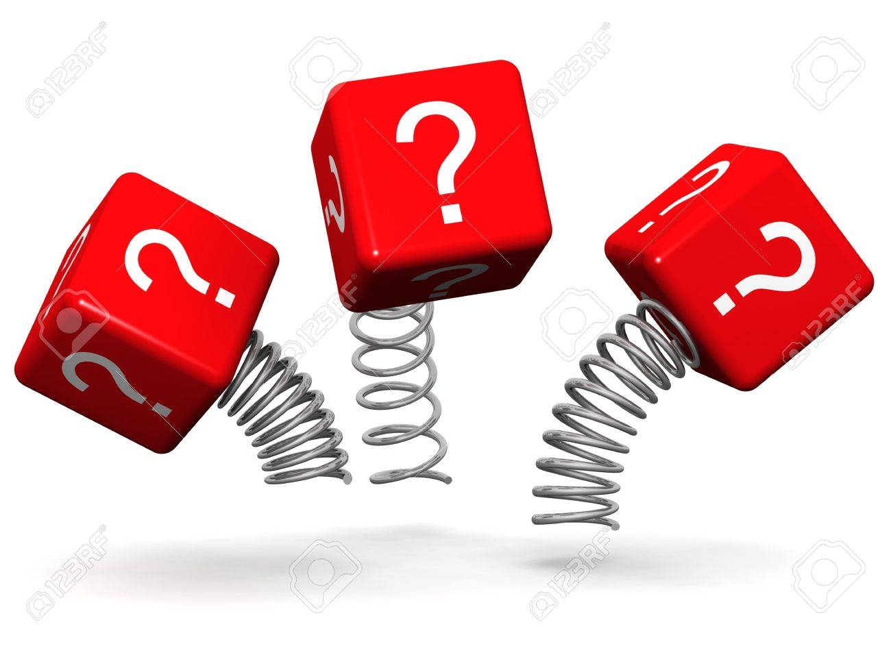 Dynamic and active question concept question mark cube box with spring 3d illustration Stock Illustration - 7420535