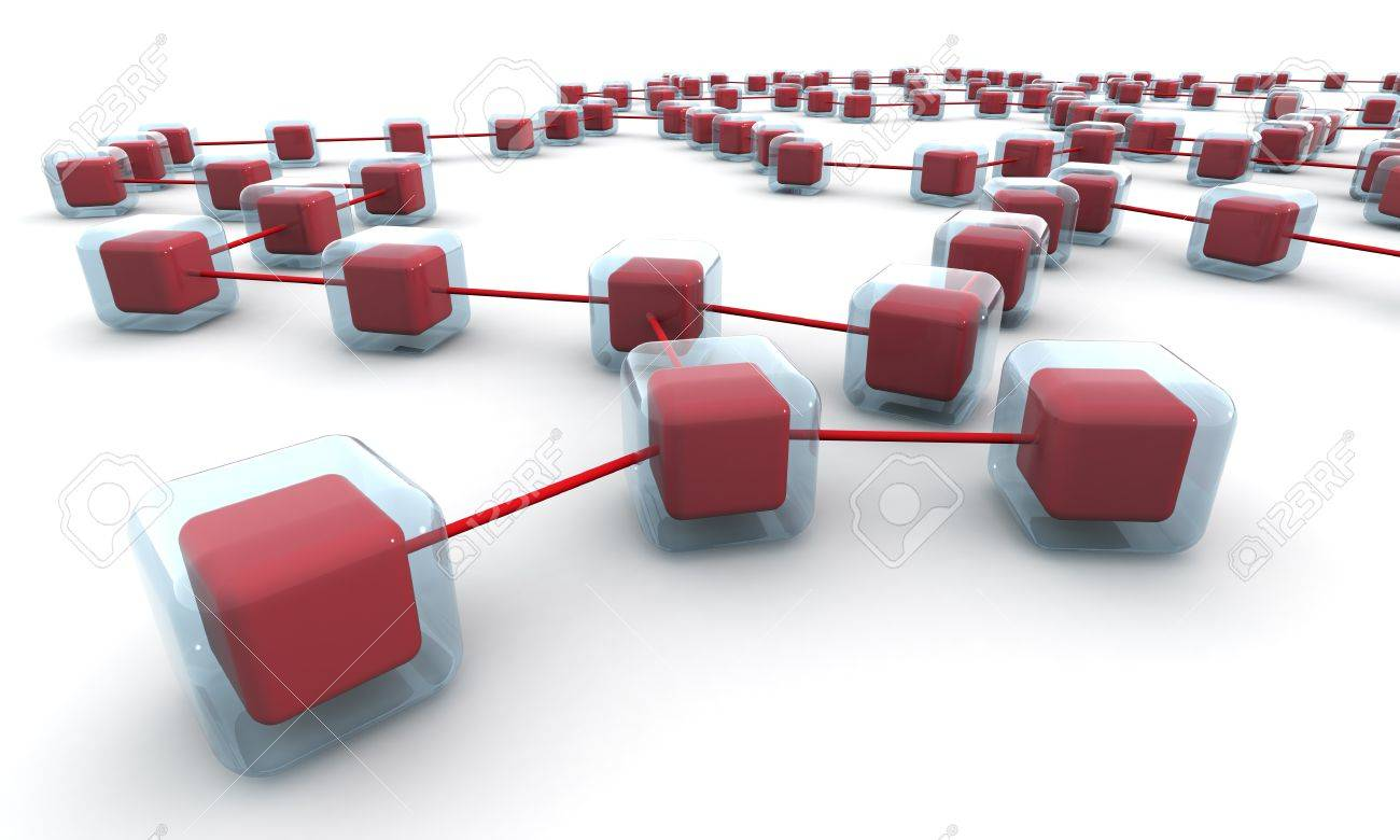 Business network structure or connection concept white background 3d illustration Stock Illustration - 9615628