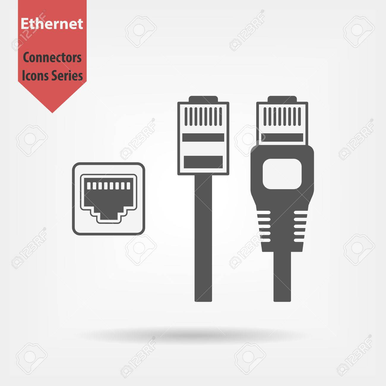 Ethernet Connectors And Socket With Cable Symbol For Download
