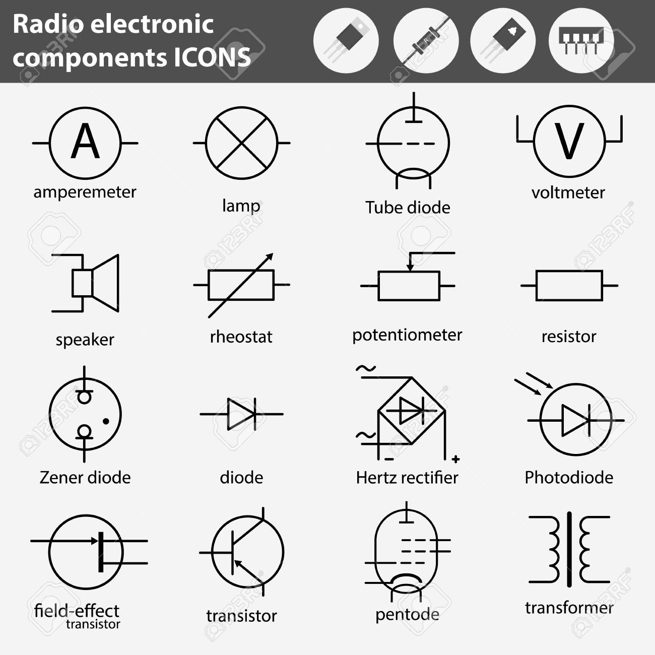 Symbols Of Radio Electronic Components Line Gray Icons Set. Royalty ...