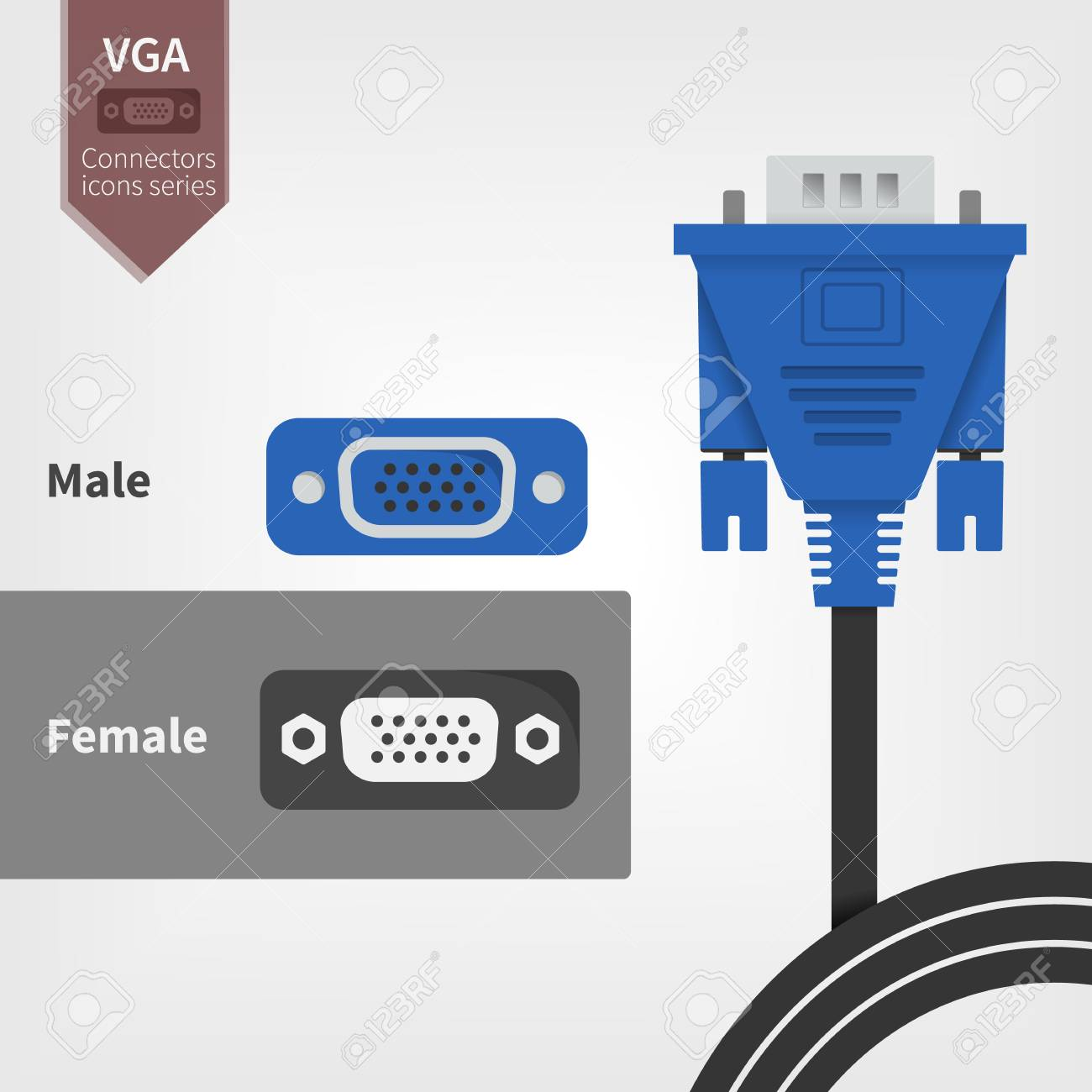 And Socket Connectors Flat 3 Way Plug Three Polarized Connector 2 Wire By Seadog Marine Products Vga Outlets Royalty Free Cliparts Vectors