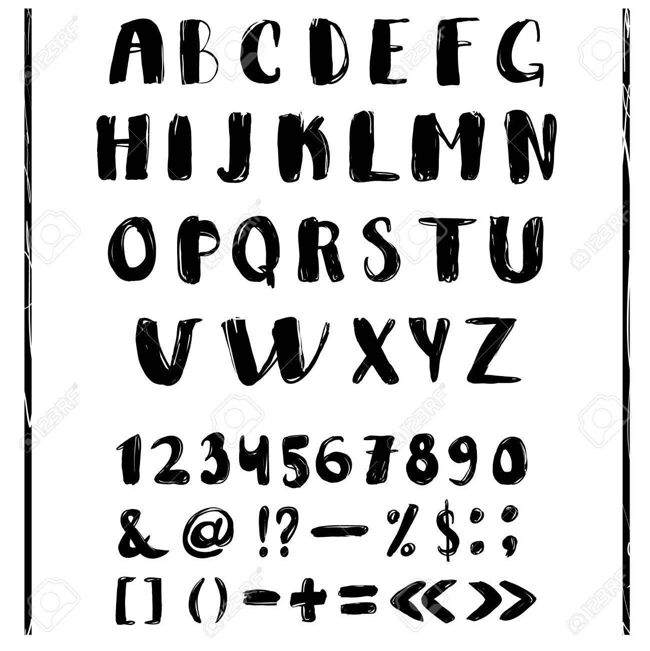 black and white hand lettering alphabet design handwritten brush script modern calligraphy stock photo 80958241