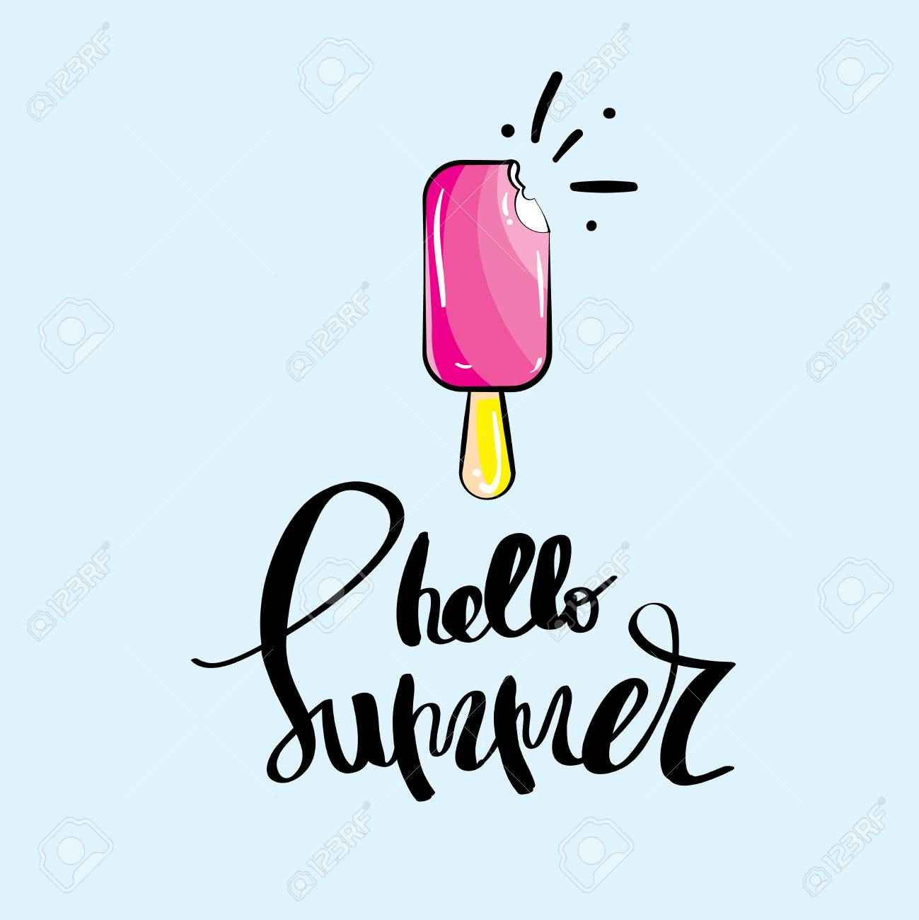Hello Summer Concept Lettering Set Of Greeting Card Backgrounds With Happy  Ice Cream Cute Stock Photo