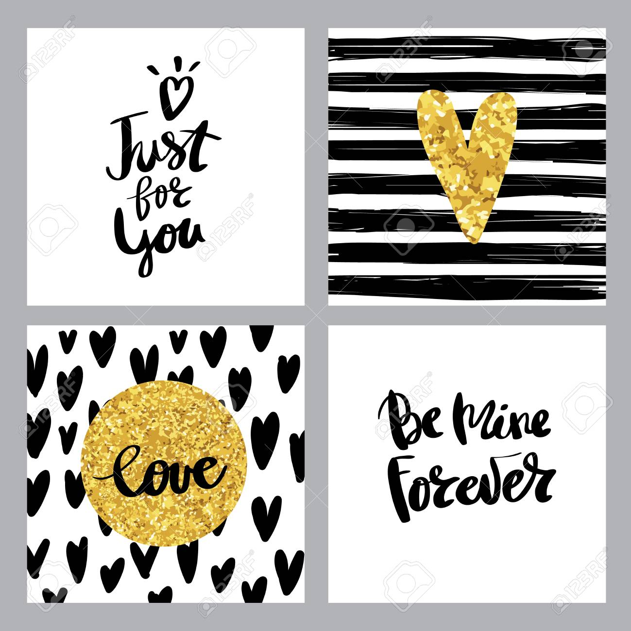 Valentine S Day Lettering Set Isolated Handwriting Calligraphy