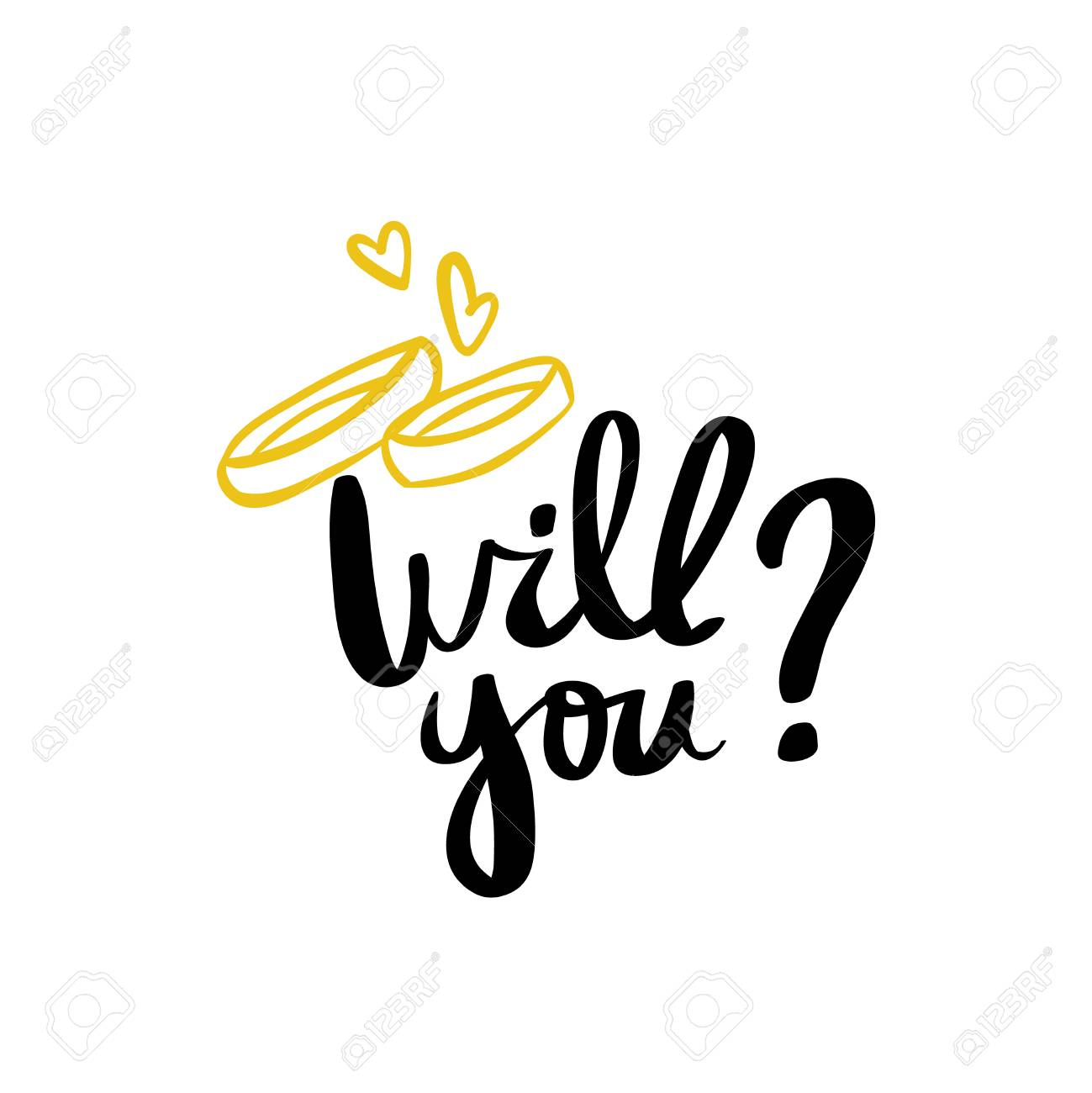 Will You Marry Me Hand Lettering Typography Text For Wedding.. Stock ...