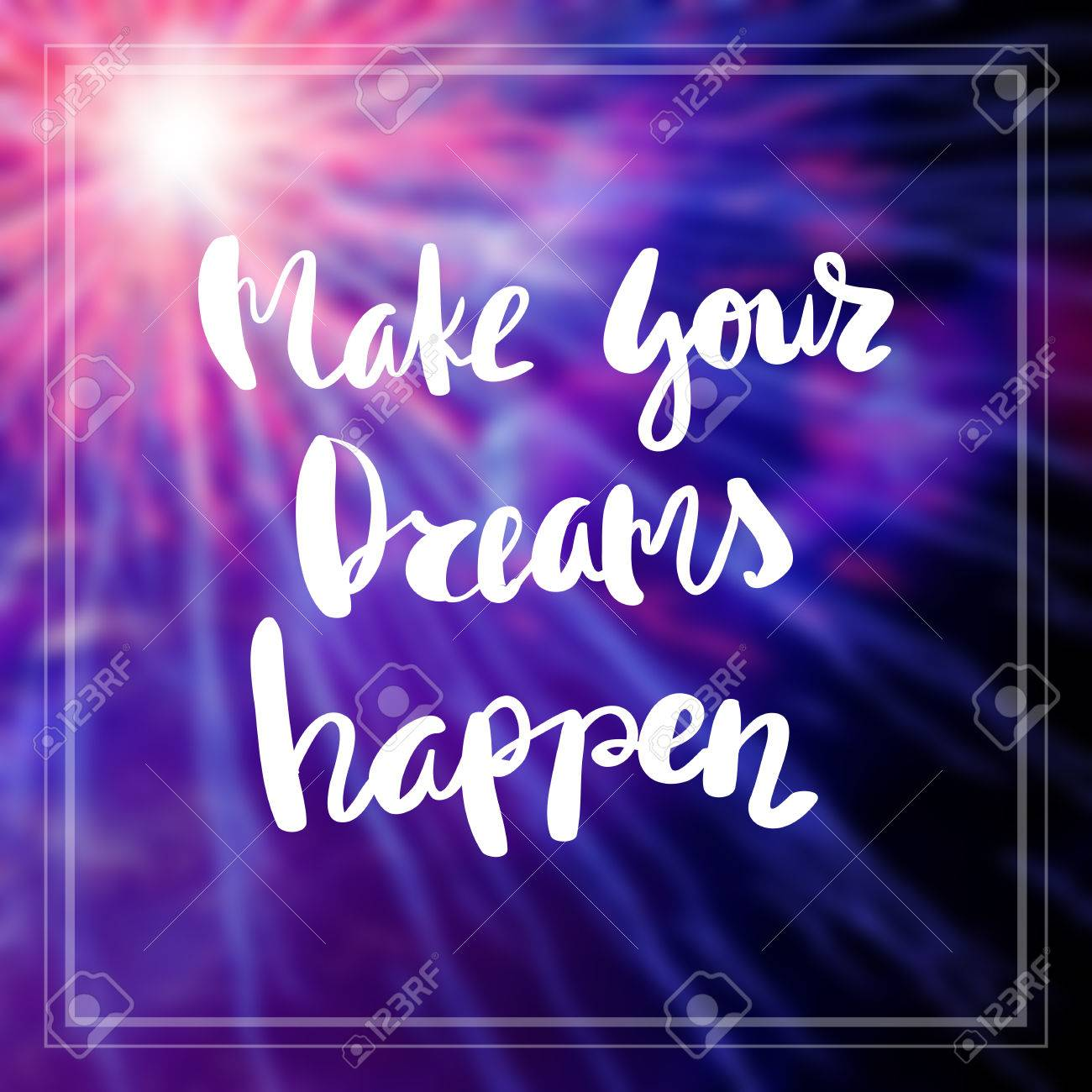 Motivational Quote on purple color background Make your dreams..