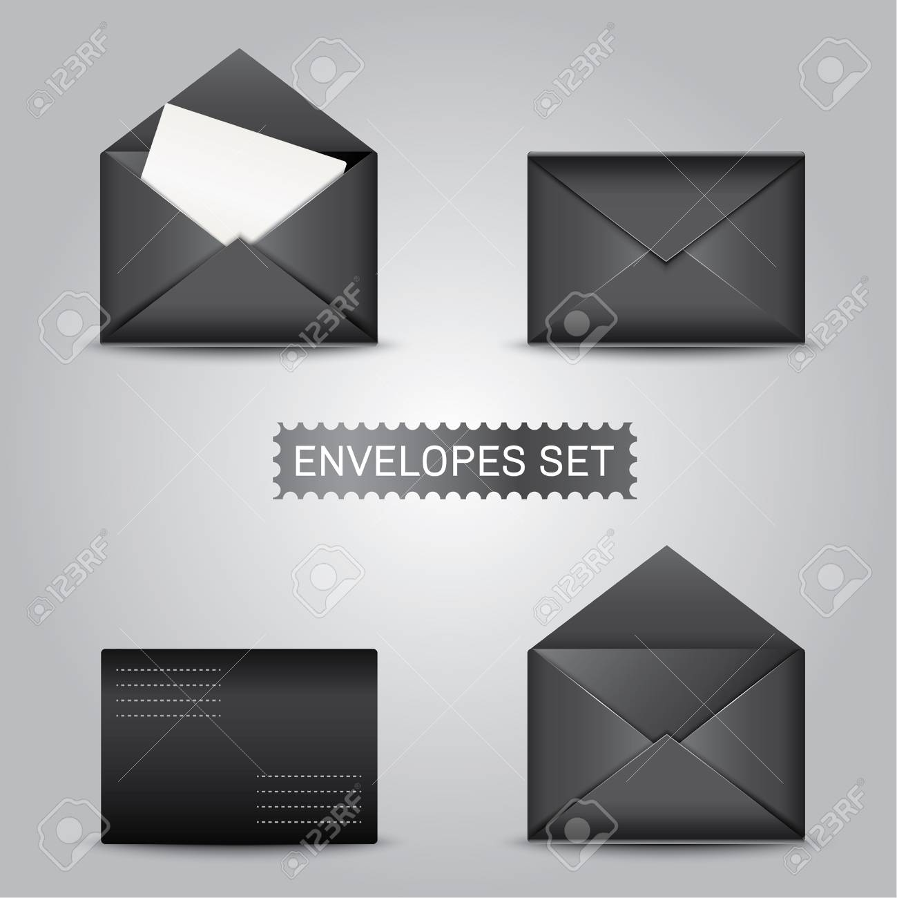 realistic black envelopes envelope blank envelope mock up envelope