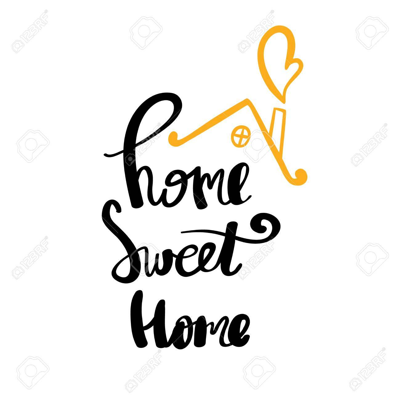 228984f90bdc Home Sweet Home typography poster. Handmade lettering print. Vector vintage  illustration Stock Vector -