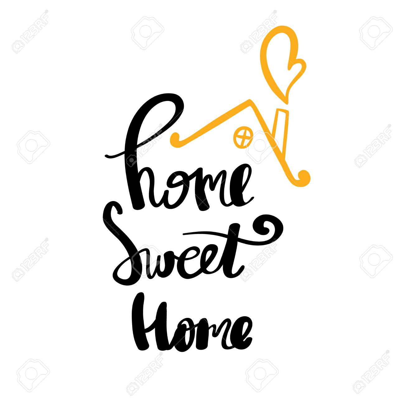 Home Sweet Typography Poster Handmade Lettering Print Vector Vintage Illustration Stock