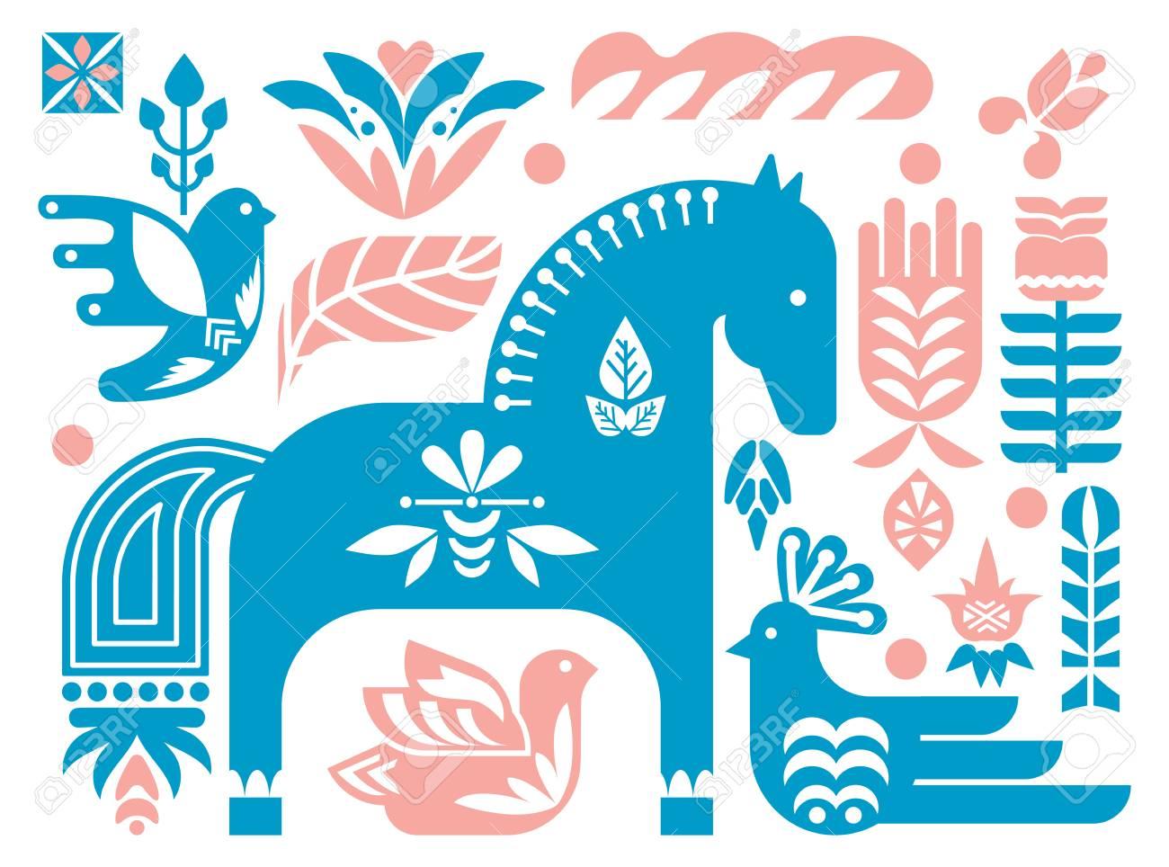 Folk Dala Horse Pattern Scandinavian Seamless Folk Art Design Royalty Free Cliparts Vectors And Stock Illustration Image 101156610