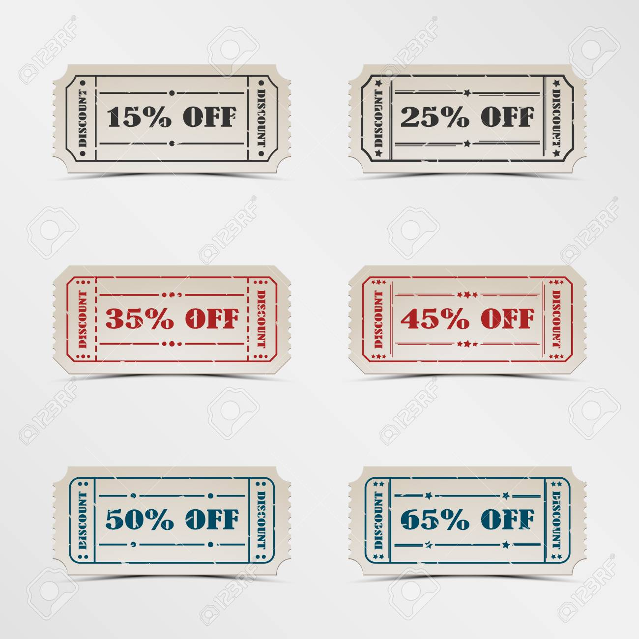 Collection discount vintage ticket Stock Vector - 19155330