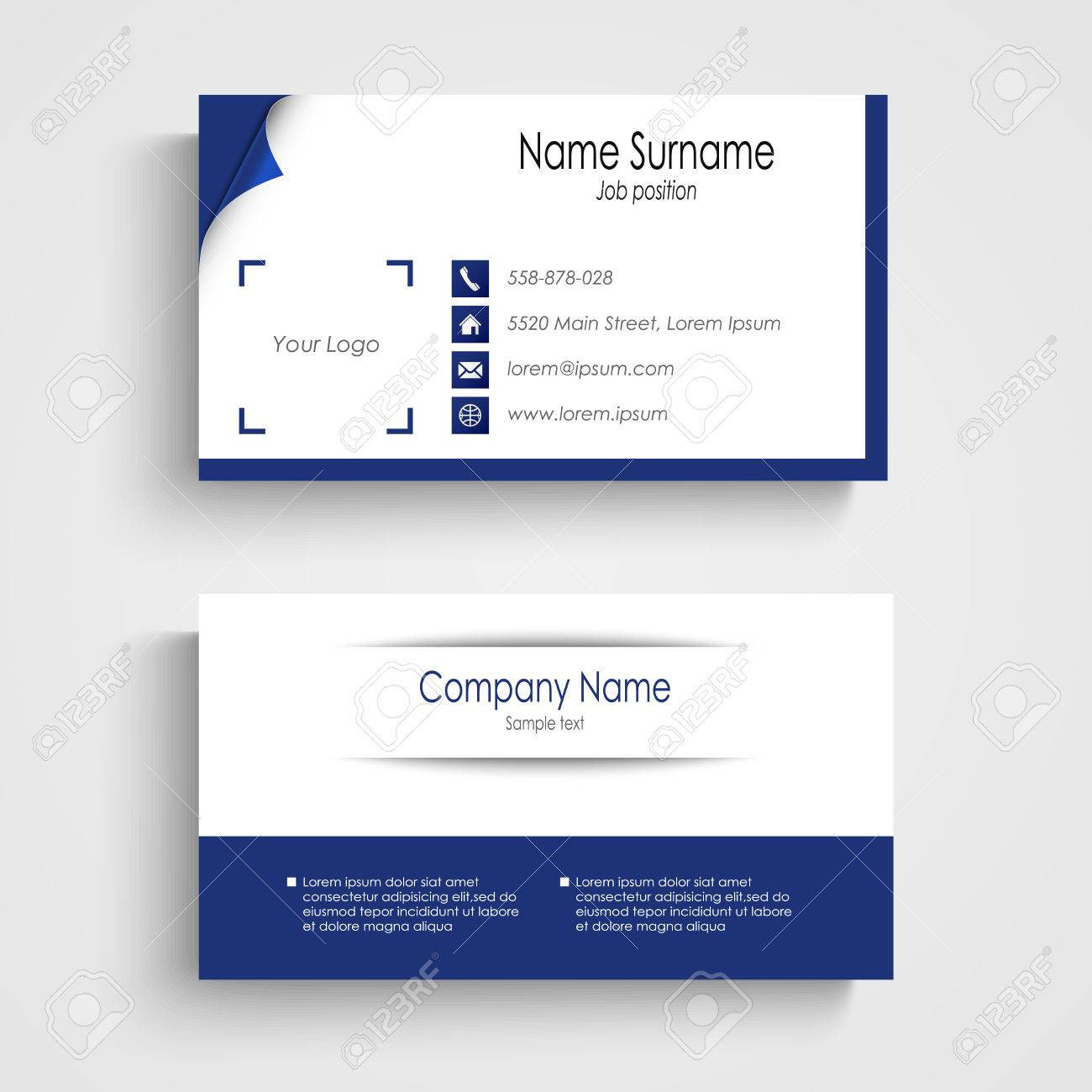 Modern Blue Light Business Card Template Vector Eps 10 Royalty Free