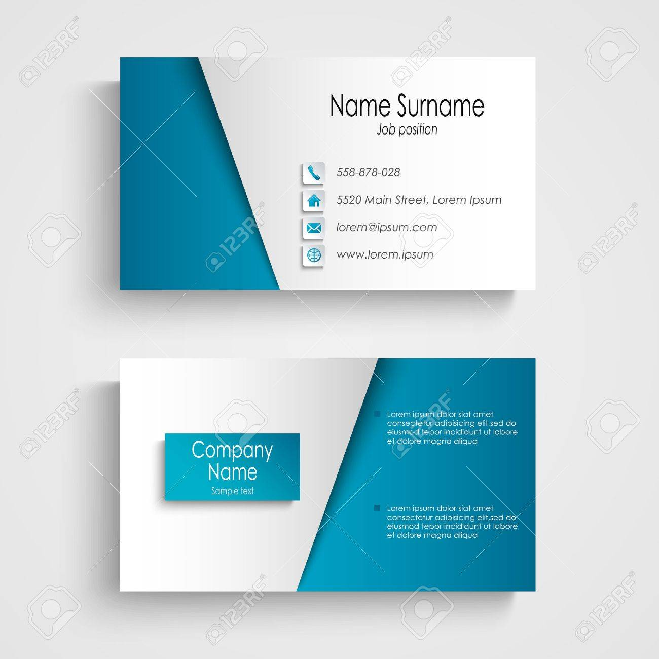 Modern Light Blue Business Card Template Vector Eps 10 Royalty Free