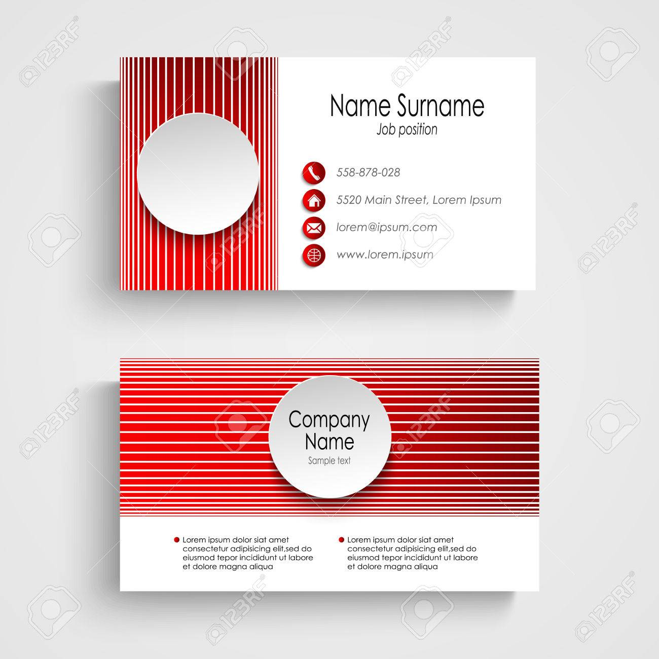 Modern Red Round Business Card Template Royalty Free Cliparts ...