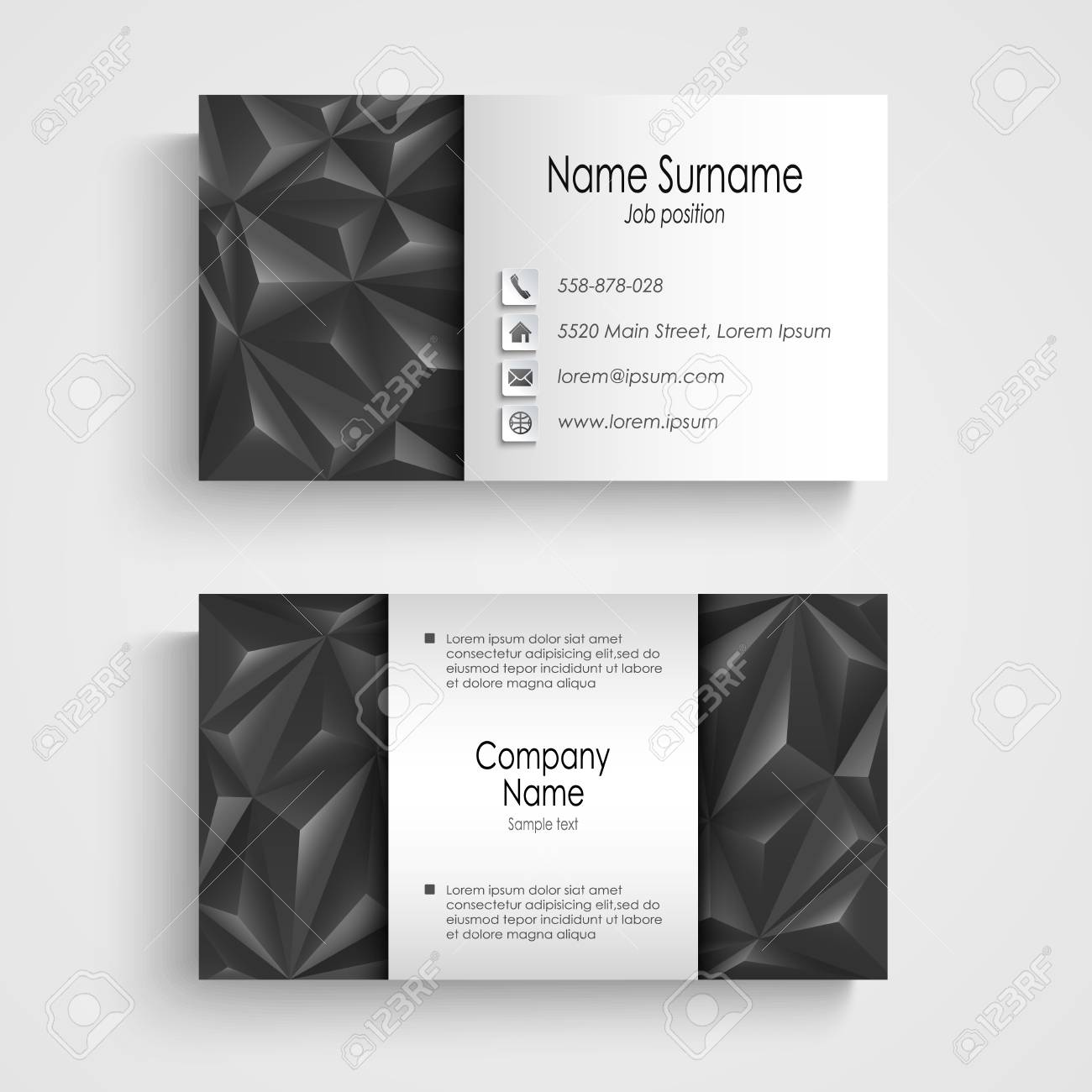Modern Triangle Gray Business Card Template Vector Eps 10 Royalty