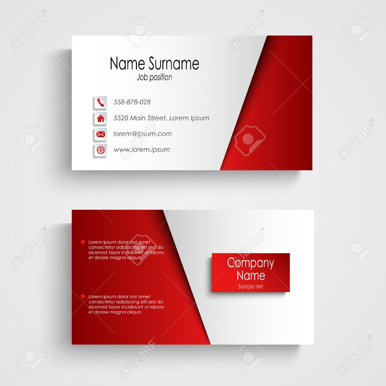 Modern Light Red Business Card Template Vector. Royalty Free ...