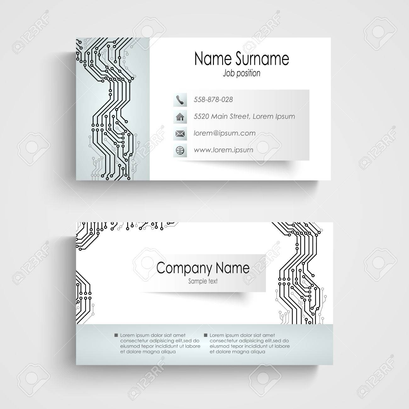 Modern Business Card With Printed Circuit Board Vector Royalty ...