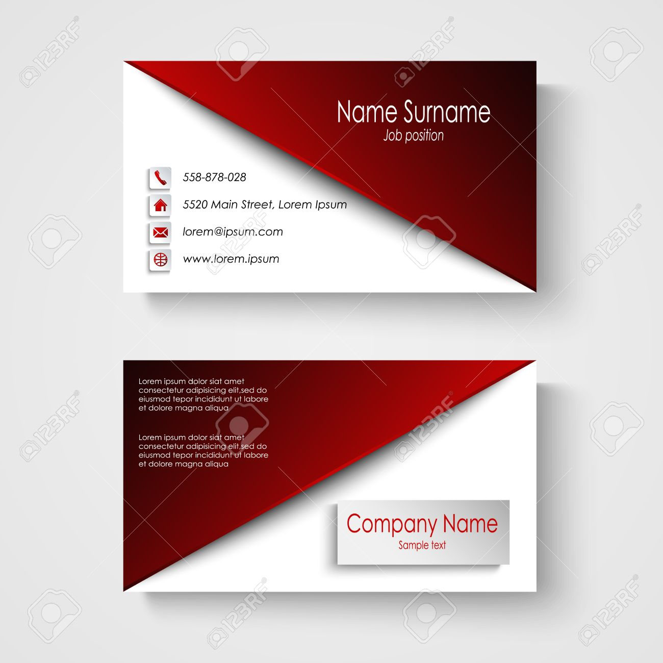 Business card with red white background template vector eps 10 business card with red white background template vector eps 10 stock vector 40380563 reheart Images
