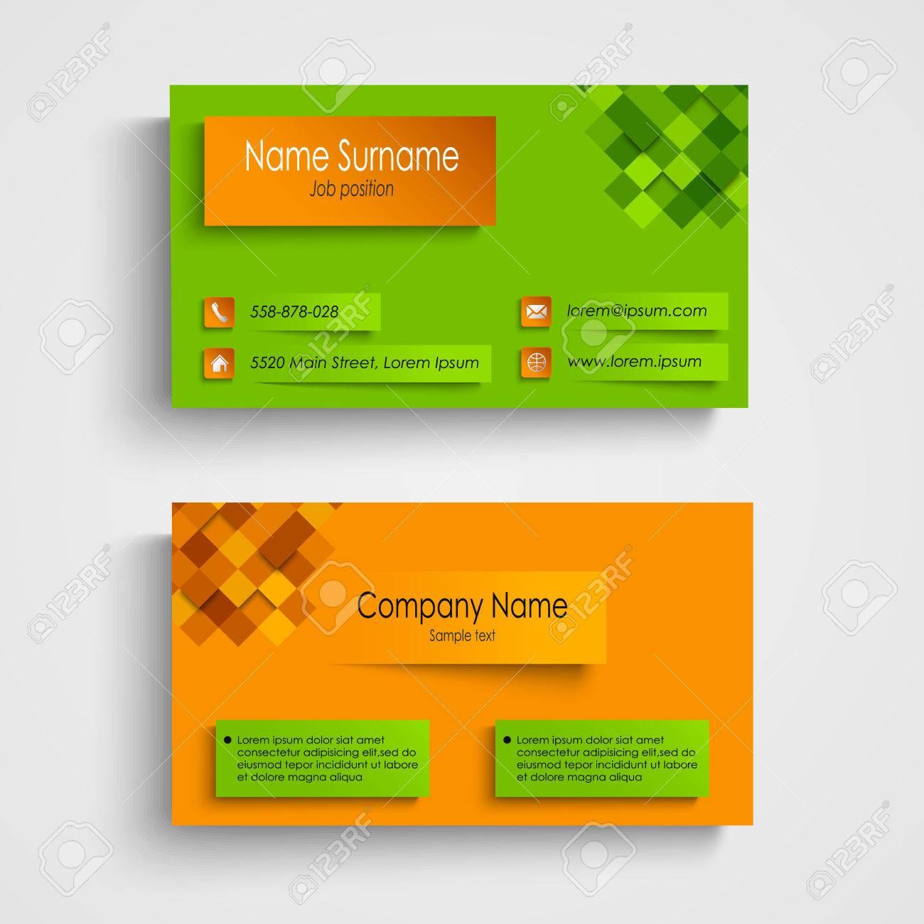 Carte De Visite Avec Le Vecteur Vert Orange Modele Conception Eps